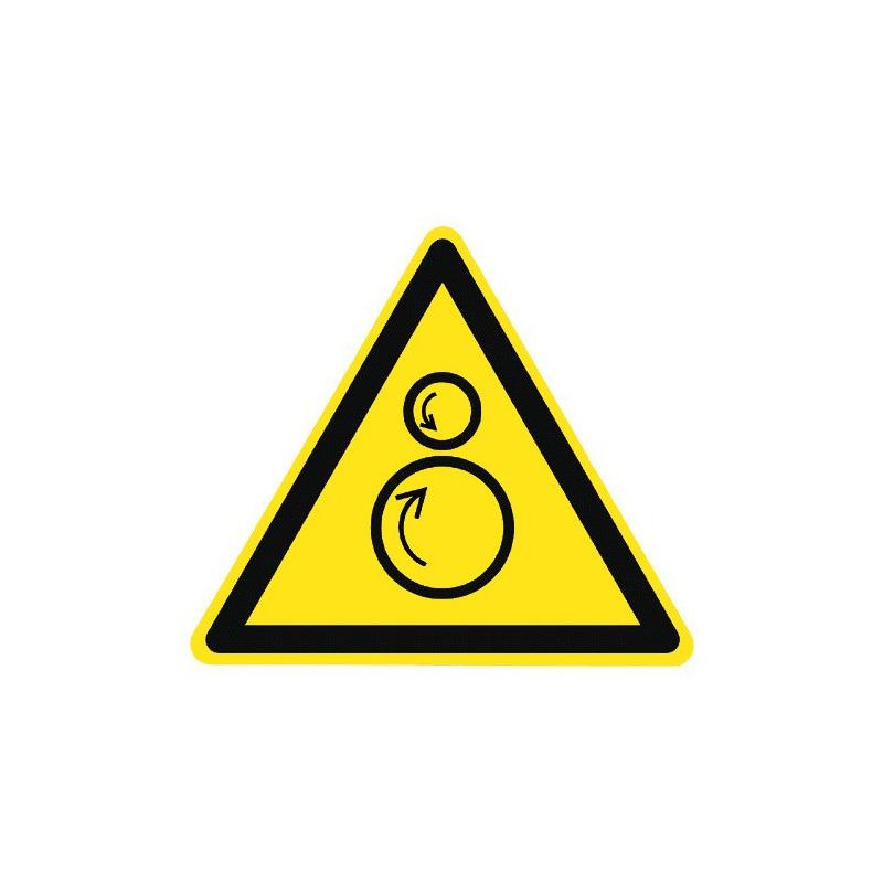 Warnung vor gegenläufigen Rollen (und vor Einzugsgefahr) - W025