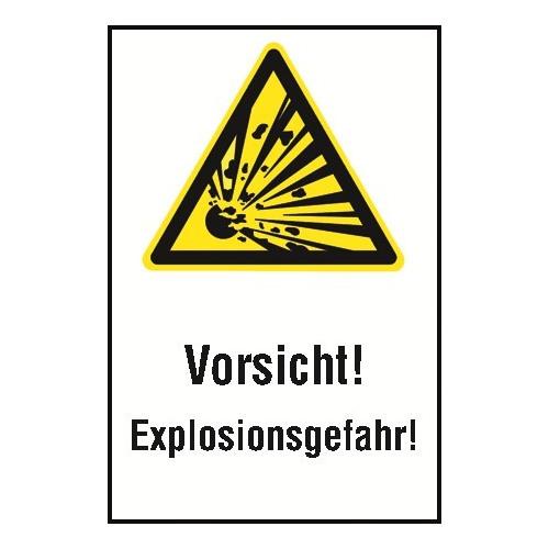 """Kombischild """"Vorsicht Explosionsgefahr"""" - W002"""