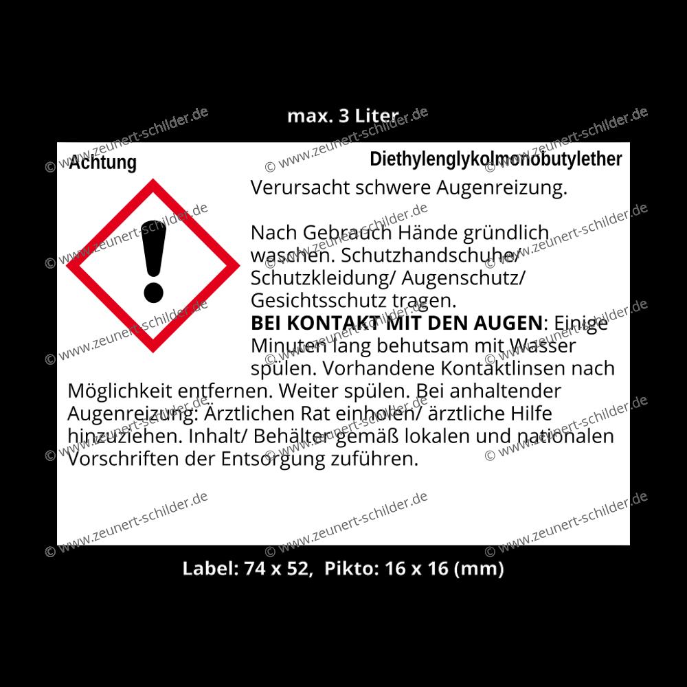 GHS/CLP Etikett Diethylenglykolmonobutylether, CAS 112-34-5
