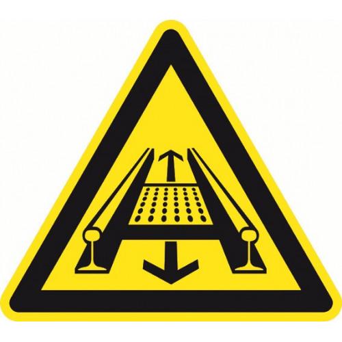 Warnung vor Gefahren durch eine Förderanlage am Gleis - DIN 4844-2 - D-W029