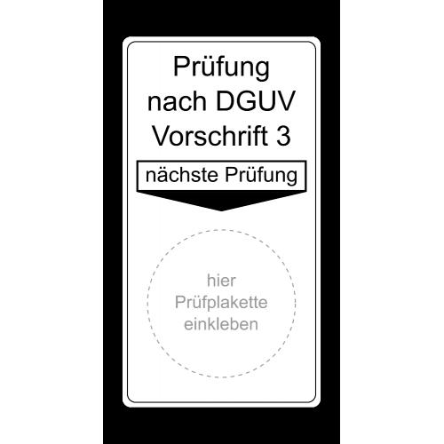 """Grundplakette """"Prüfung nach DGUV Vorschrift 3, nächste Prüfung"""""""
