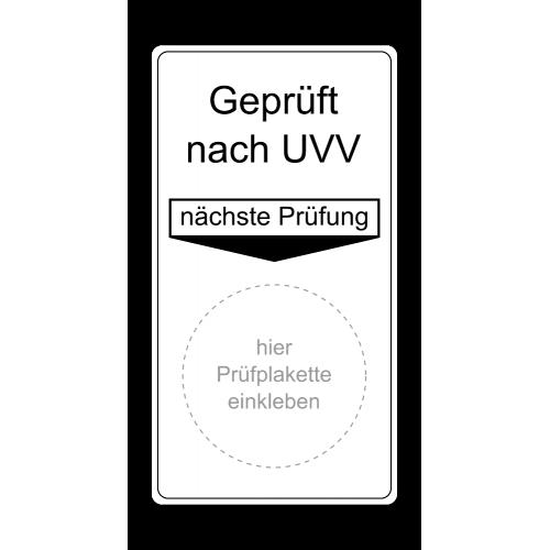 "Grundplakette ""Prüfung nach UVV, nächste Prüfung"""