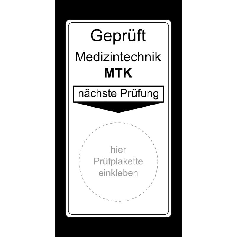 "Grundplakette ""Geprüft Medizintechnik MTK, nächste Prüfung"""