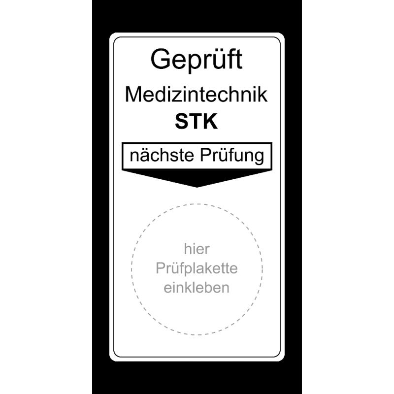 "Grundplakette ""Geprüft Medizintechnik STK, nächste Prüfung"""