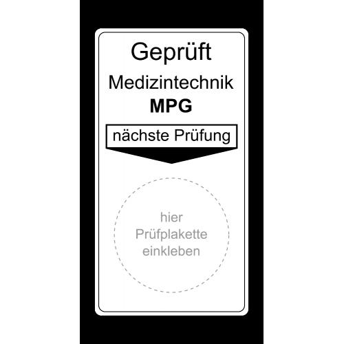 """Grundplakette """"Geprüft Medizintechnik MPG, nächste Prüfung"""""""