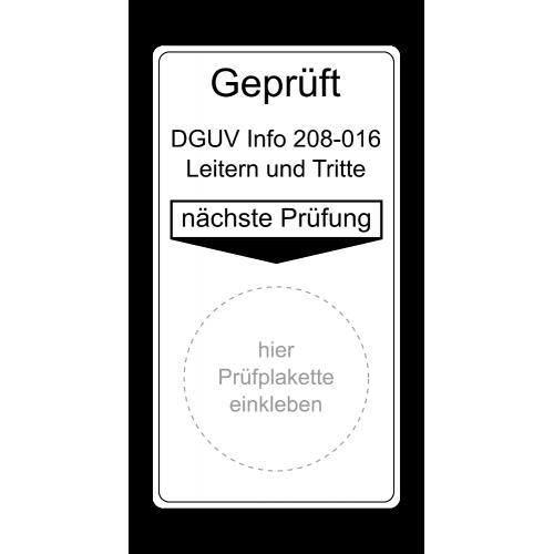 Geprüft DGUV Info 208-016 Leitern und Tritte, nächste Prüfung