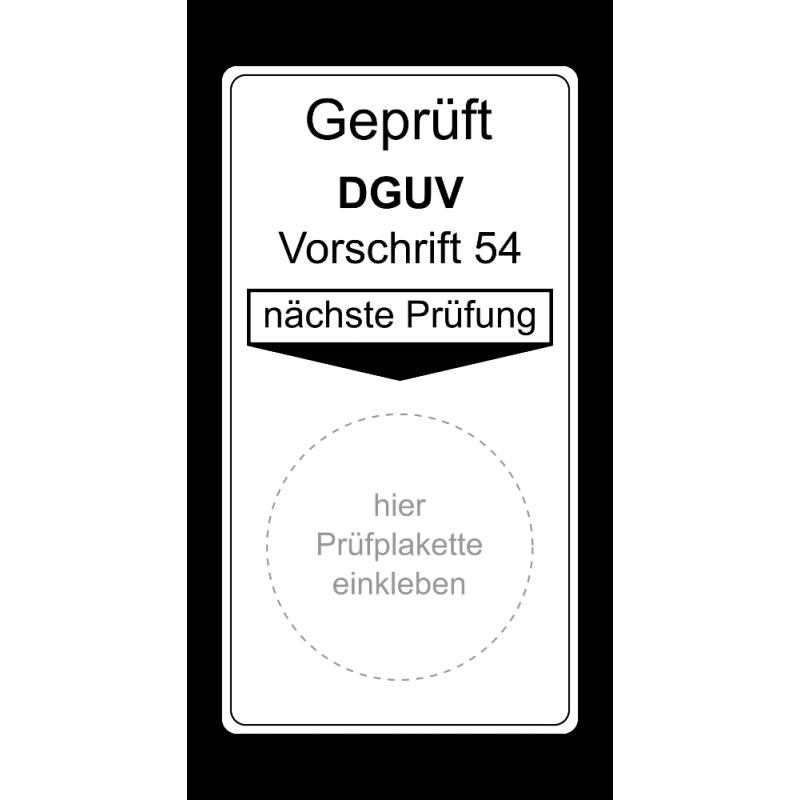 """Grundplakette """"Geprüft DGUV Vorschrift 54, nächste Prüfung"""""""