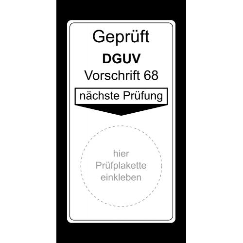 """Grundplakette """"Geprüft DGUV Vorschrift 68, nächste Prüfung"""""""
