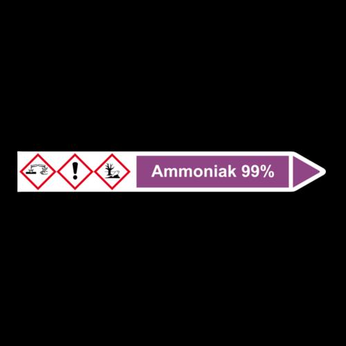 """Rohrleitungskennzeichnung """"Ammoniak 99%"""""""