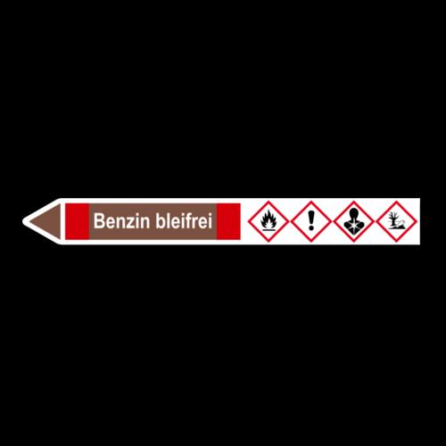"""Rohrleitungskennzeichnung """"Benzin bleifrei"""""""