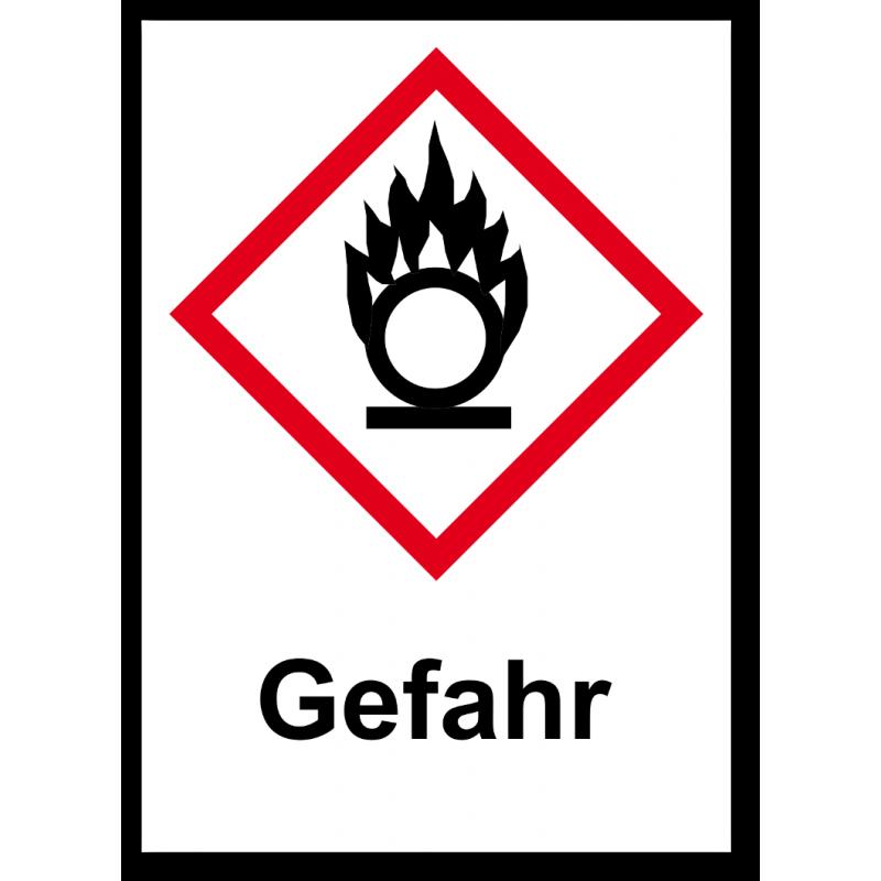 """GHS Etikett """"Flamme über einem Kreis"""" GHS03"""