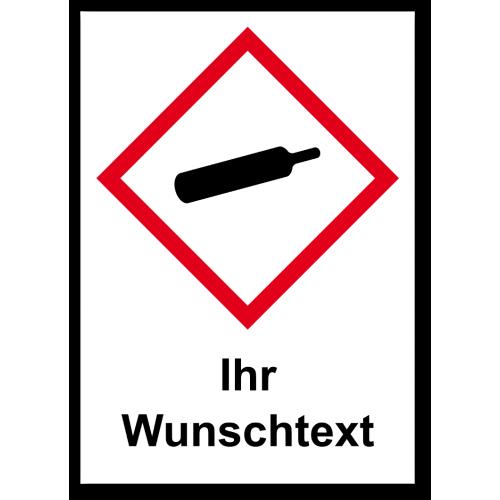 """GHS Etikett Wunschtext """"Gasflasche"""" GHS04"""