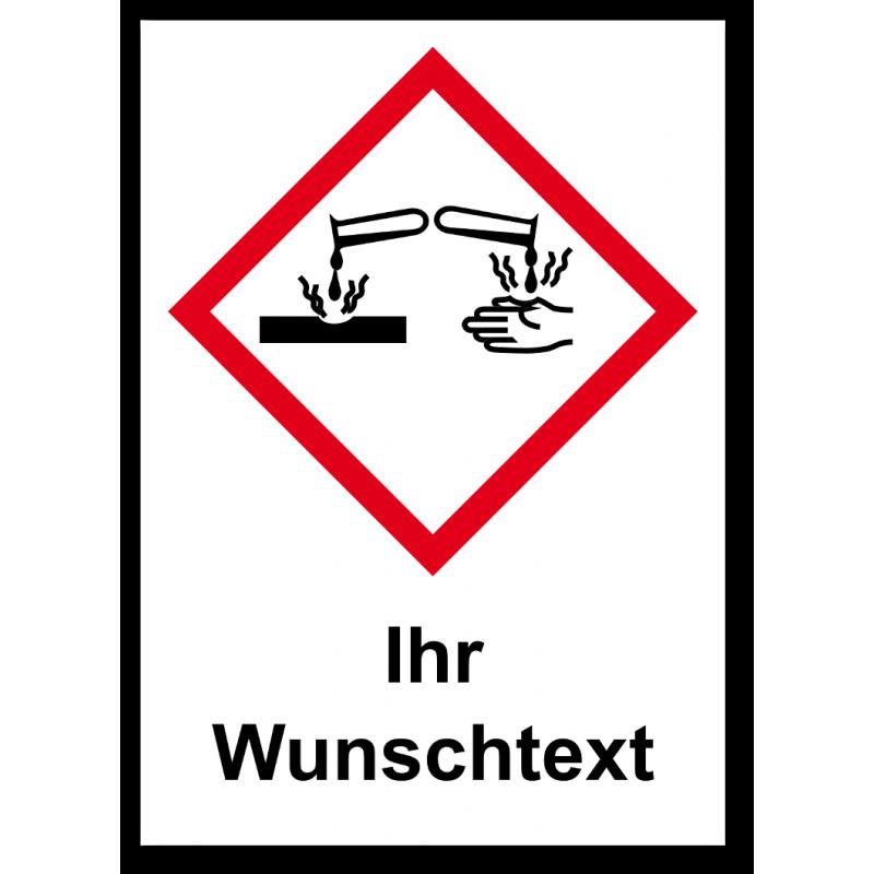 """GHS Etikett Wunschtext """"Ätzwirkung"""" GHS05"""