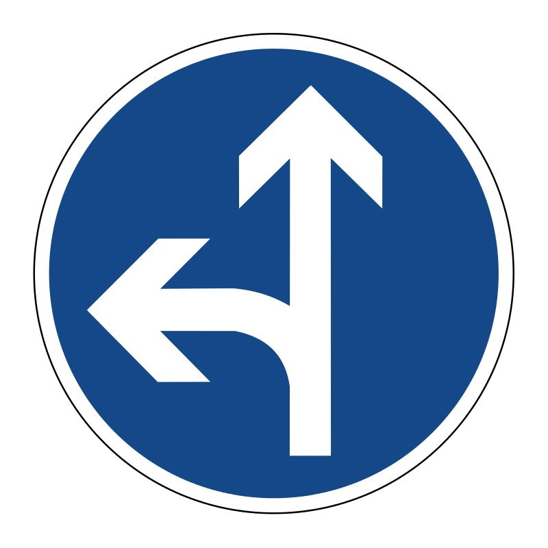Vorgeschriebene Fahrtrichtung geradeaus oder links - StVO-214-10
