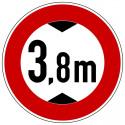 Verbot für Fahrzeuge über angegebene tatsächliche Höhe, mit Wunschtext - StVO-265