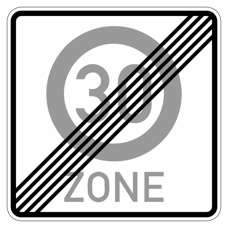 Ende einer Tempo 30-Zone - StVO-274.2