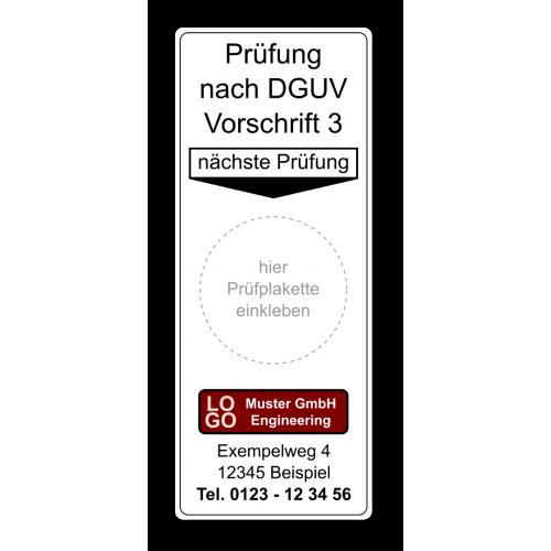 """Grundplakette """"Prüfung nach DGUV Vorschrift 3, nächste Prüfung"""" , mit Werbung"""