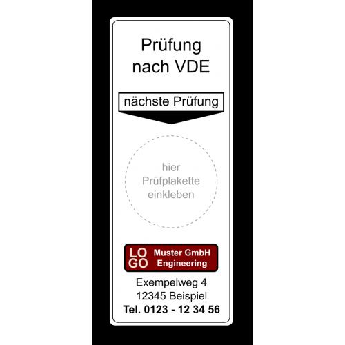 """Grundplakette """"Prüfung nach VDE, nächste Prüfung"""" , mit Werbung"""