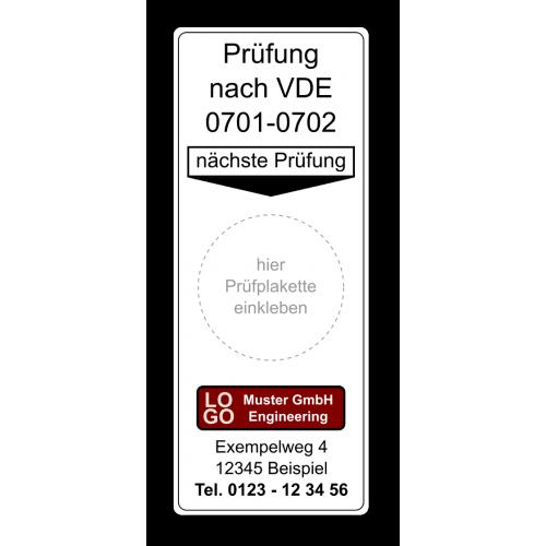 """Grundplakette """"Prüfung nach VDE 0701-0702, nächste Prüfung"""" , mit Werbung"""