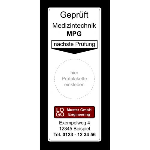 """Grundplakette """"Geprüft Medizintechnik MPG, nächste Prüfung"""" , mit Werbung"""