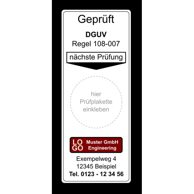 """Grundplakette """"Geprüft DGUV Regel 108-007, nächste Prüfung"""" , mit Werbung"""