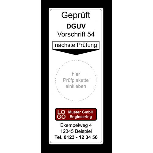 """Grundplakette """"Geprüft DGUV Vorschrift 54, nächste Prüfung"""" , mit Werbung"""