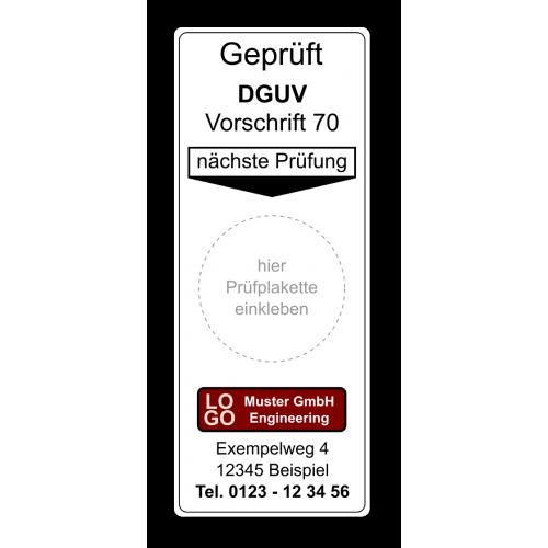 """Grundplakette """"Geprüft DGUV Vorschrift 70, nächste Prüfung"""" , mit Werbung"""