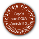Geprüft nach DGUV Vorschrift 3, braun