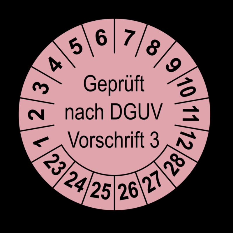 Geprüft nach DGUV Vorschrift 3, rosa