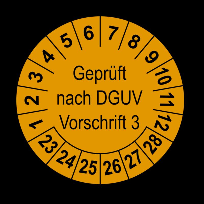Geprüft nach DGUV Vorschrift 3, orange