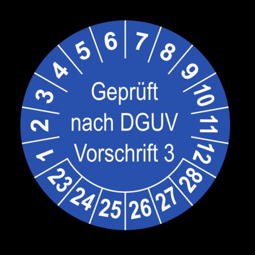Geprüft nach DGUV Vorschrift 3, blau