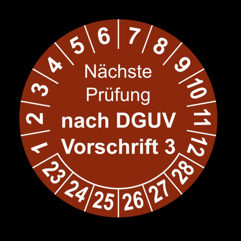 Nächste Prüfung nach DGUV Vorschrift 3, braun