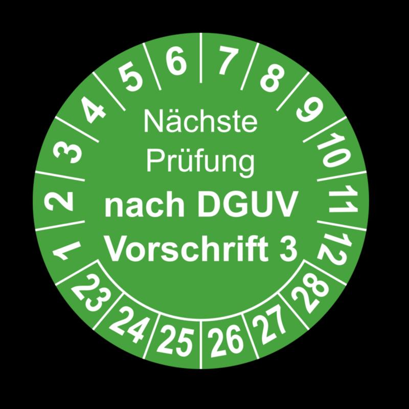 Nächste Prüfung nach DGUV Vorschrift 3, grün