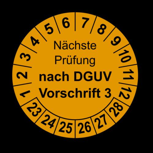 Nächste Prüfung nach DGUV Vorschrift 3, orange