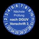 Nächste Prüfung nach DGUV Vorschrift 3, blau