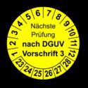 Nächste Prüfung nach DGUV Vorschrift 3, gelb