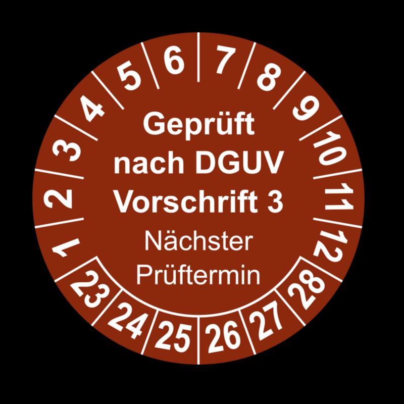 Geprüft nach DGUV Vorschrift 3 Nächster Prüftermin, braun
