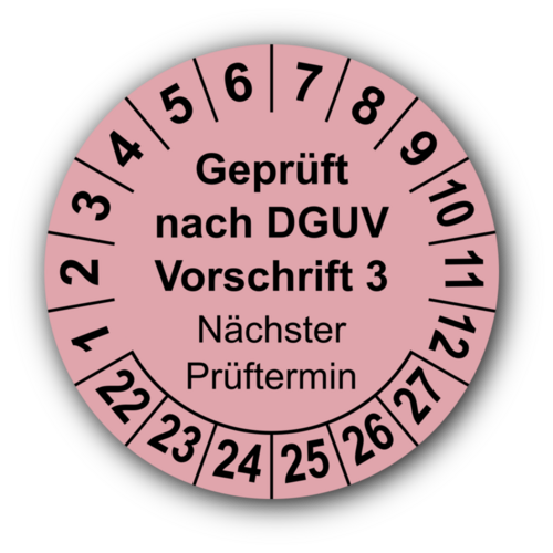Geprüft nach DGUV Vorschrift 3 Nächster Prüftermin, rosa