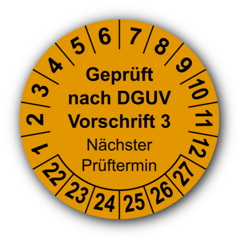 Geprüft nach DGUV Vorschrift 3 Nächster Prüftermin, orange