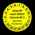 Geprüft nach DGUV Vorschrift 3 Nächster Prüftermin, gelb