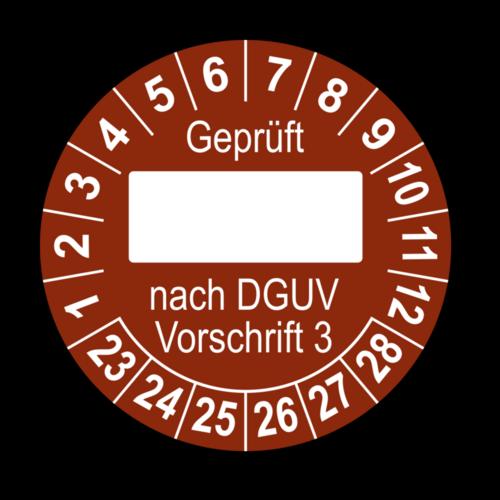 Geprüft … nach DGUV Vorschrift 3, braun (zum Selbstbeschriften)