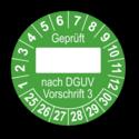 Geprüft … nach DGUV Vorschrift 3, grün (zum Selbstbeschriften)