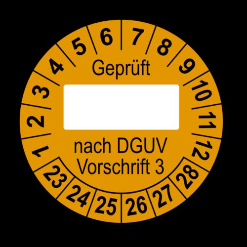 Geprüft … nach DGUV Vorschrift 3, orange (zum Selbstbeschriften)