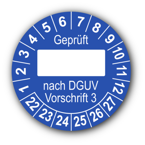 Geprüft … nach DGUV Vorschrift 3, blau (zum Selbstbeschriften)