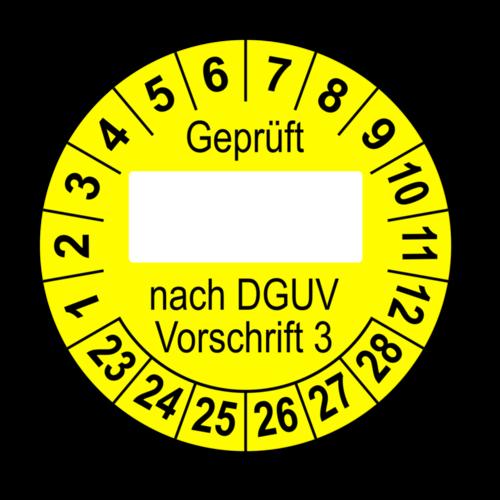 Geprüft … nach DGUV Vorschrift 3, gelb (zum Selbstbeschriften)