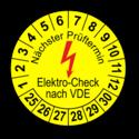 Nächster Prüftermin Elektro-Check nach VDE, gelb