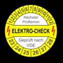 Elektro-Check Nächster Prüftermin Geprüft nach VDE, gelb/weiß
