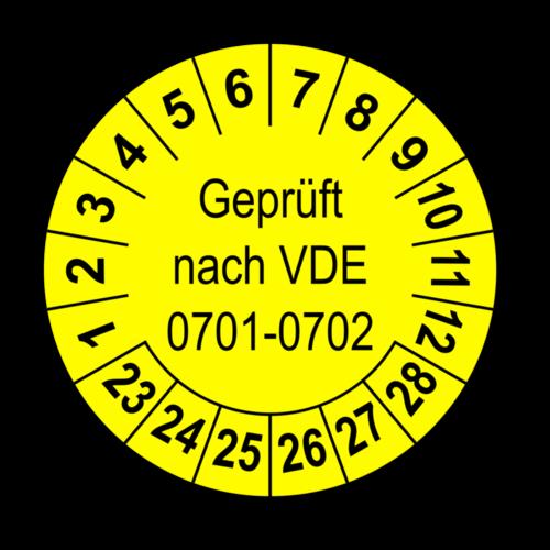 Geprüft nach VDE 0701-0702, gelb