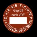 Geprüft nach VDE…, braun (zum Selbstbeschriften)