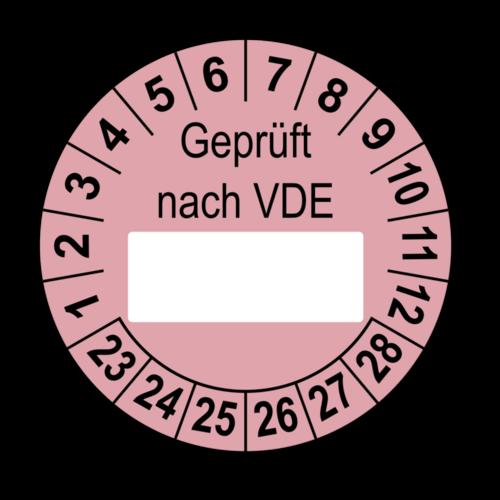 Geprüft nach VDE…, rosa (zum Selbstbeschriften)